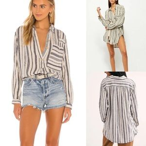 NWT Free People linen stripe pullover